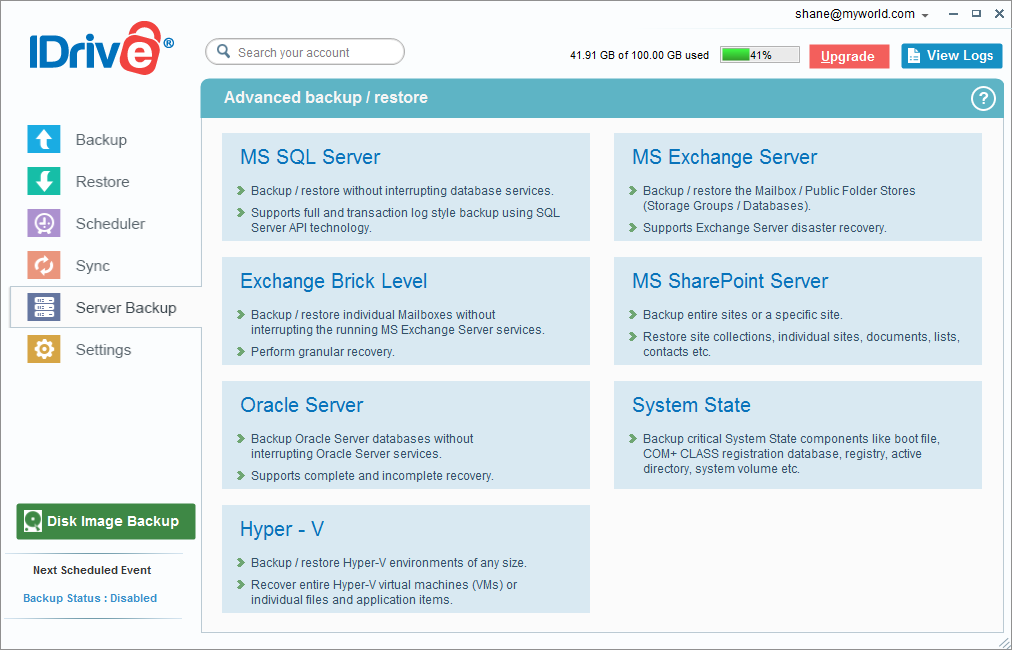 iDrive windows server backup